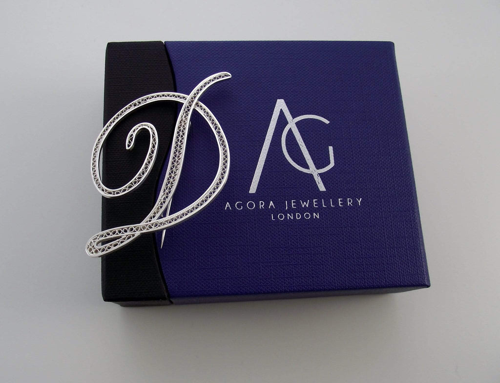 Filigree Letter Brooch - D - Agora Jewellery London