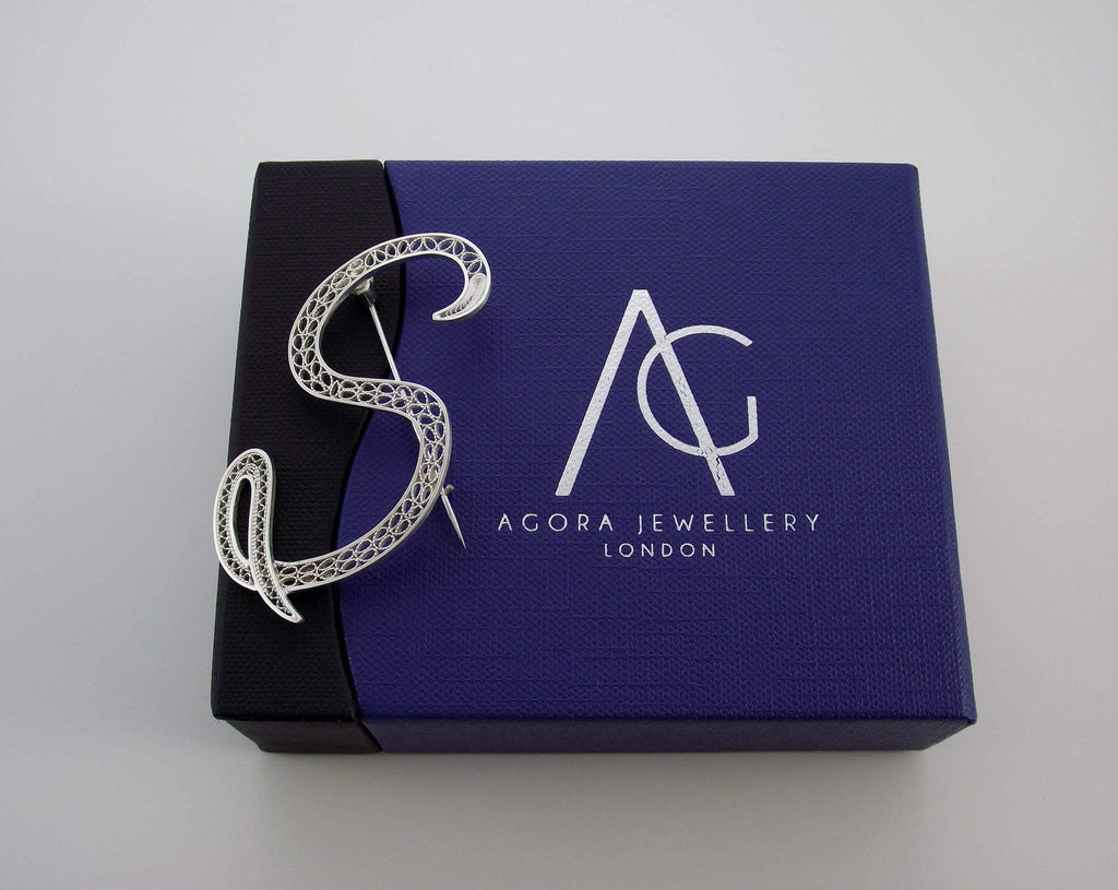 Filigree Letter Brooch - S - AG Agora Jewellery London