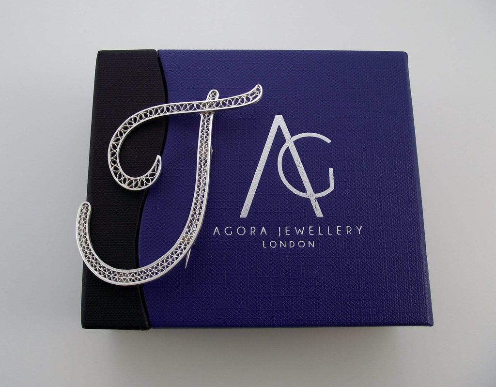 Filigree Letter Brooch - T - Agora Jewellery London