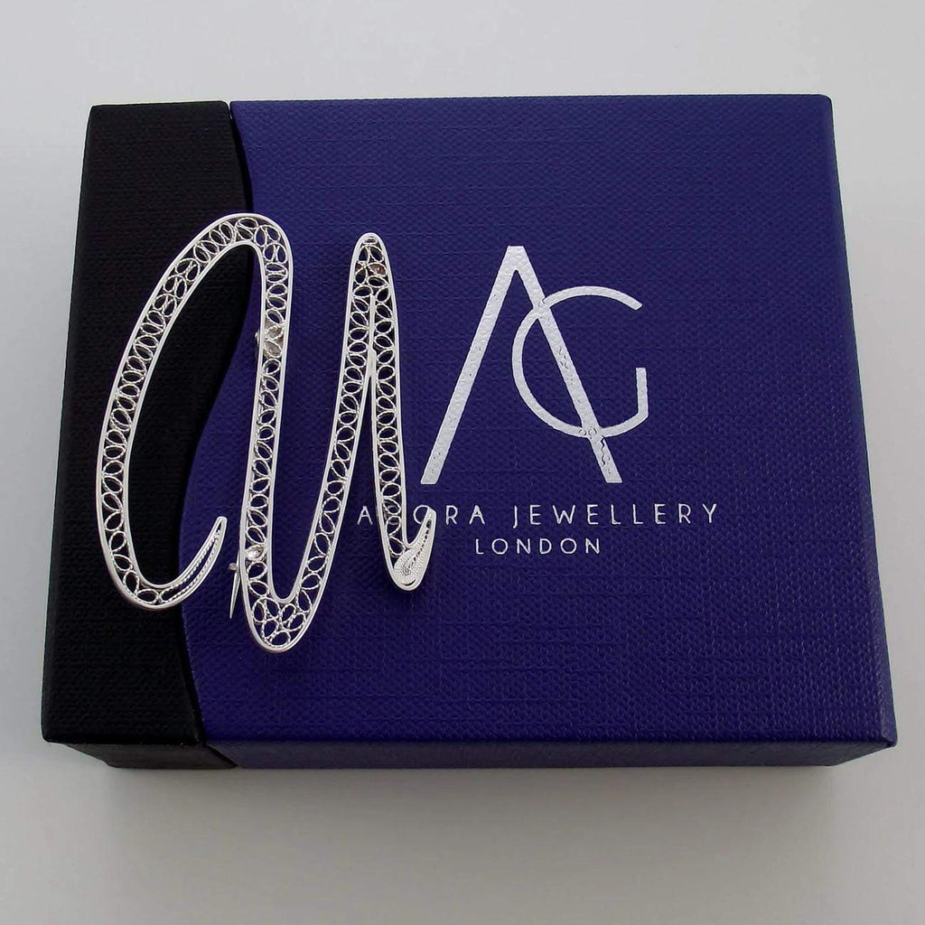 Filigree Letter Brooch - U - Agora Jewellery London