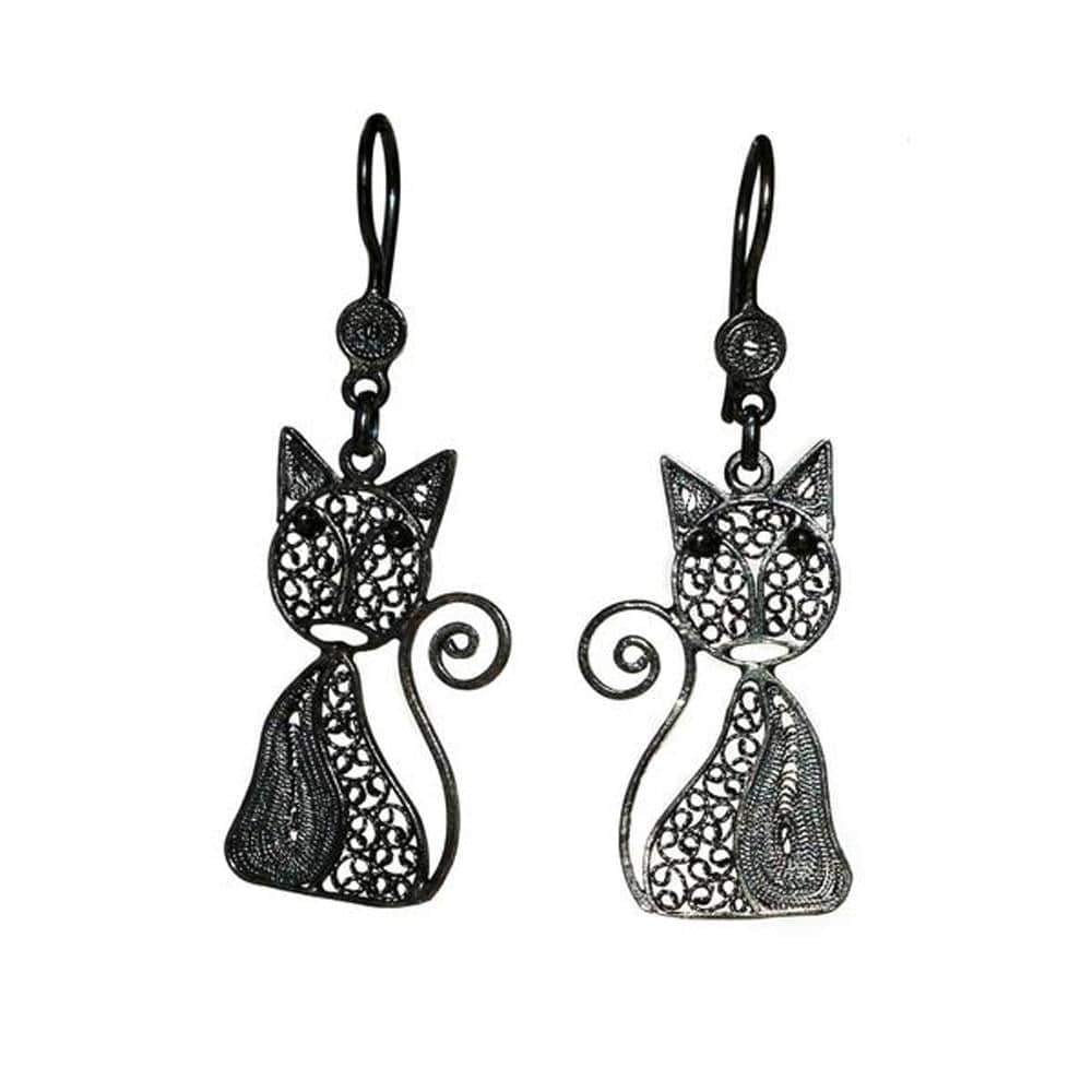 Filigree Cat Earrings - Agora Jewellery London