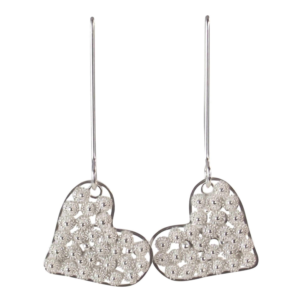 Filigree Long Heart Drop Earrings - AG Agora Jewellery London