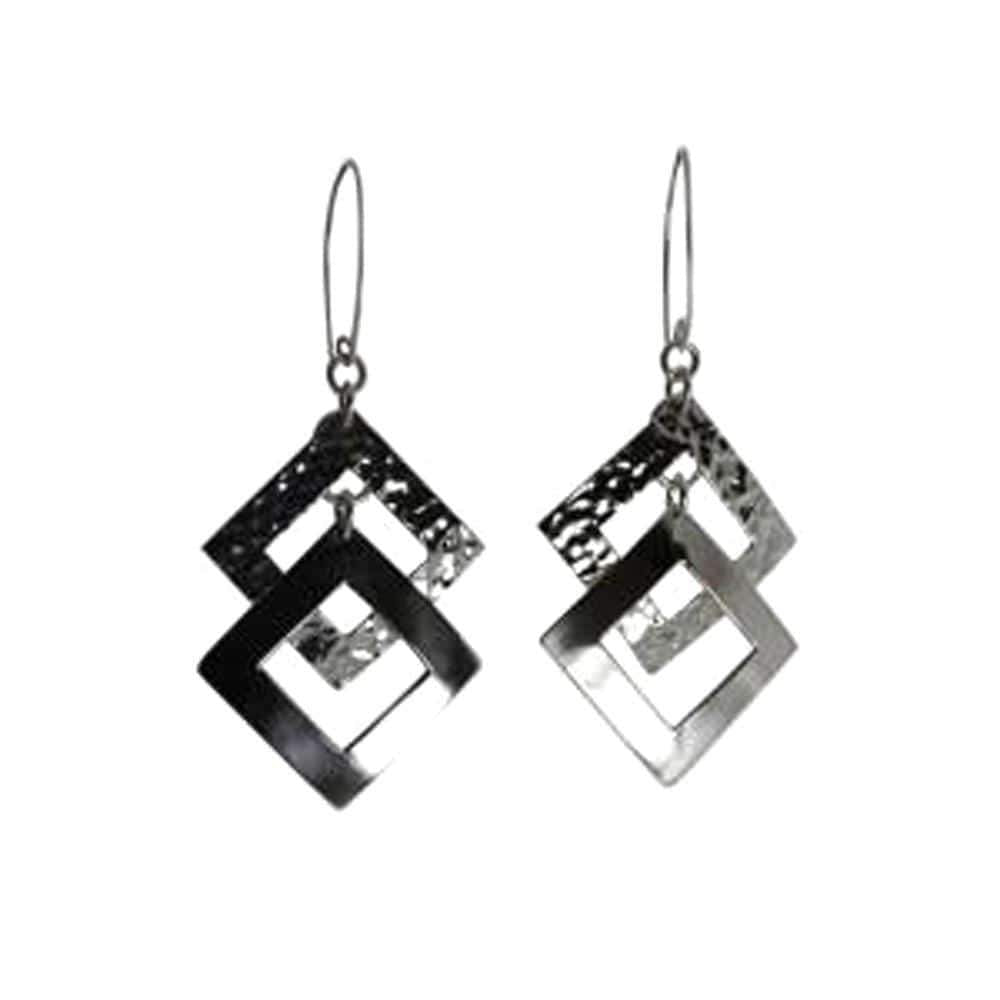 Agora Earrings Hammered Rectangle Earrings Rhombus Dangle Earrings