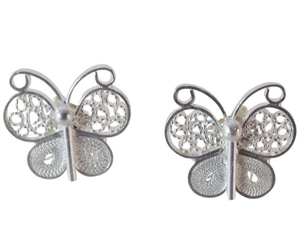 Agora Earrings Silver Filigree Apolo Butterfly Earrings Small Butterfly Earrings