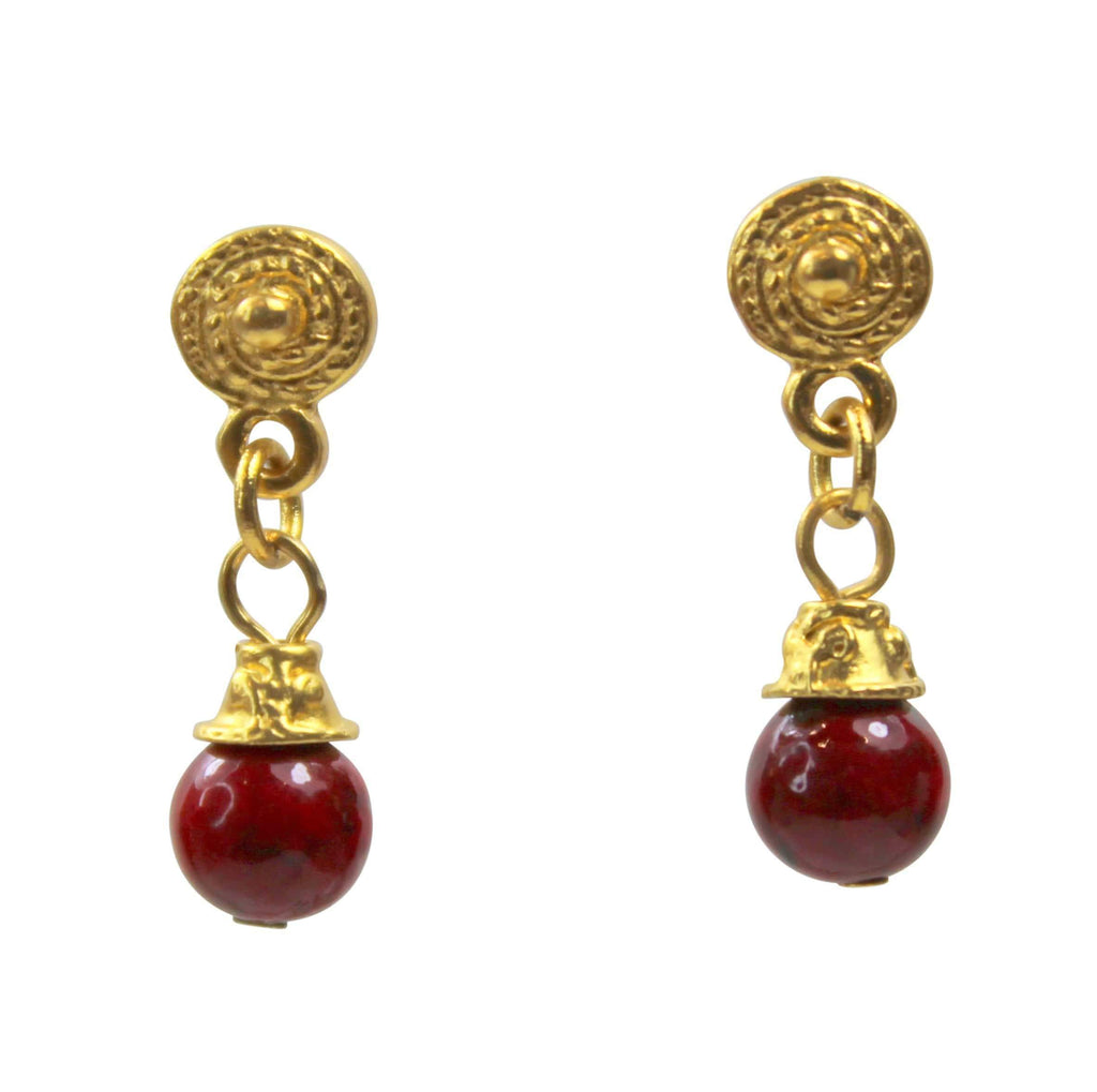Agora Gold PLated 24 K Gold Plated and red Fossil Gemstone Earrings