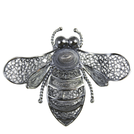 Filigree Bee Brooch - Agora Jewellery London