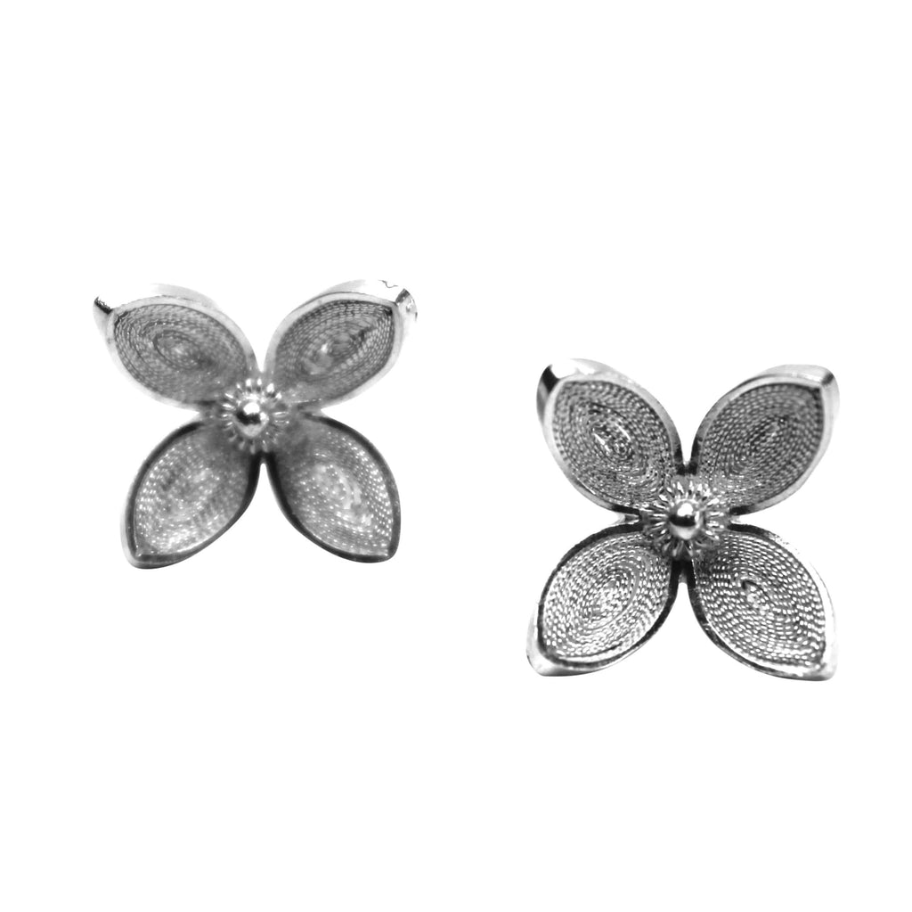 Filigree Clover Studs Earrings - Agora Jewellery London