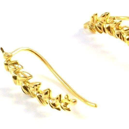 Gold Olive Leaf Earlobe Earrings - Agora Jewellery London