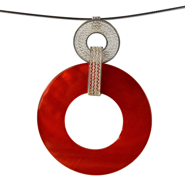 Orange Pearl Pendant - Agora Jewellery London