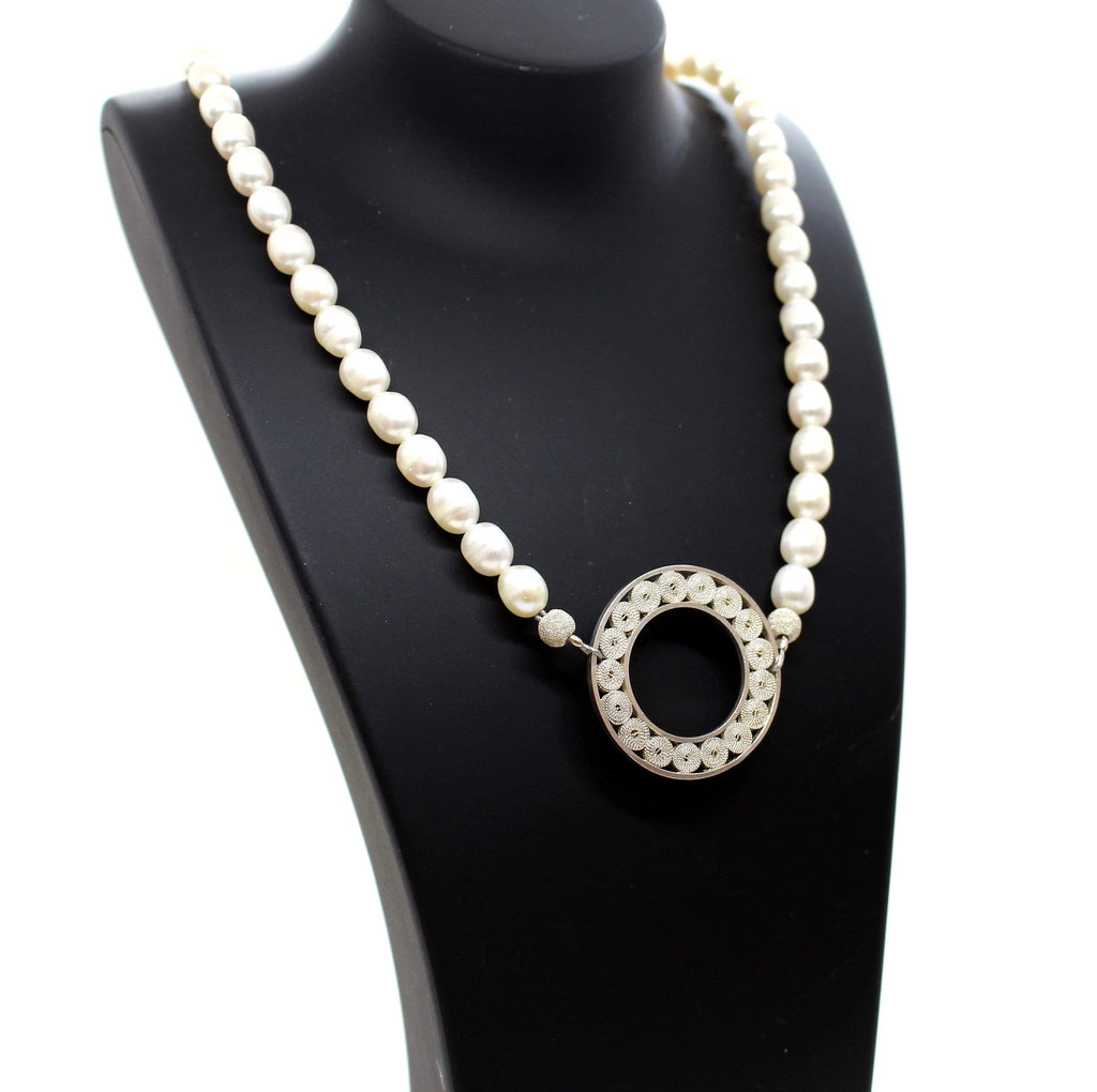 Agora Jewellery London Gemstone Fresh water pearls necklace and filigree circular pendant. Esher Pearls Necklace