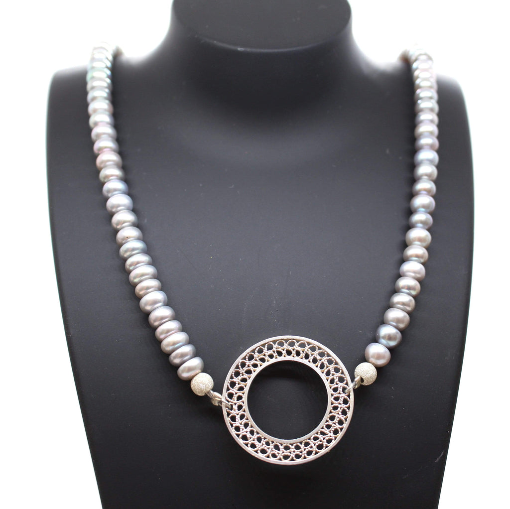 Grey Pearls Necklace - Agora Jewellery London
