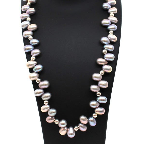 Momo Grey Pearls Necklace - Agora Jewellery London
