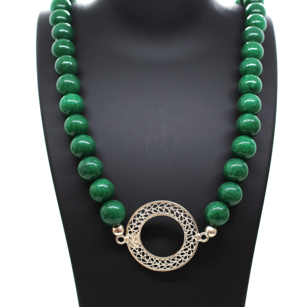 Agora Jewellery London Gemstone Necklace Filigree Jade Necklace