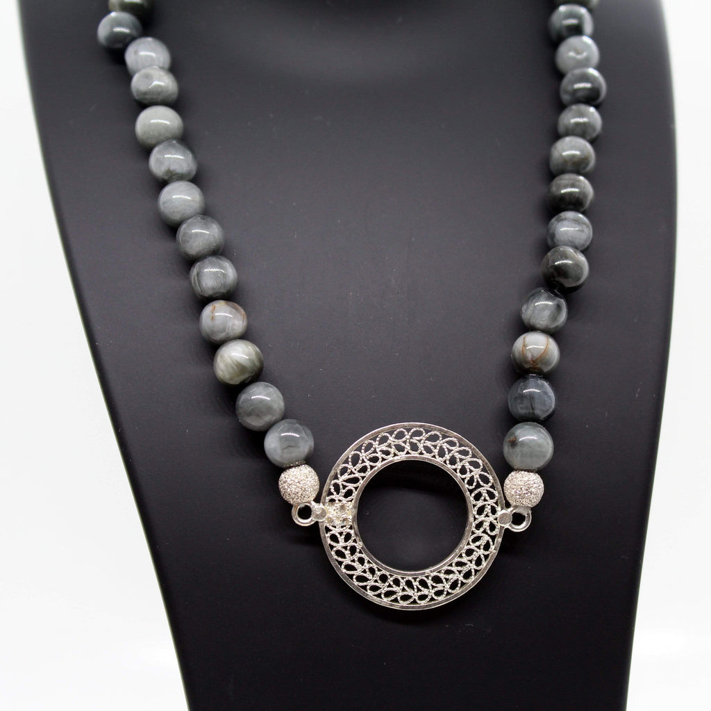 Grey Agate Necklace - Agora Jewellery London