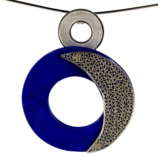 Blue Pearl Pendant - Agora Jewellery London