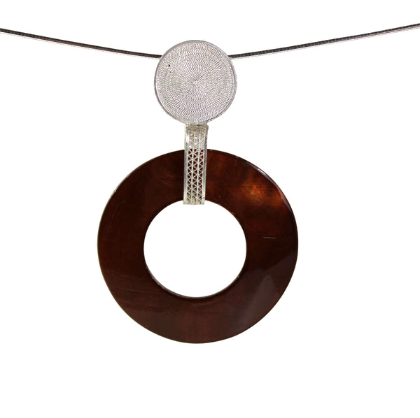 Brown Pearl Pendant - Agora Jewellery London