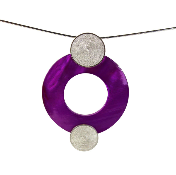 Fuchsia Pearl Pendant - Agora Jewellery London