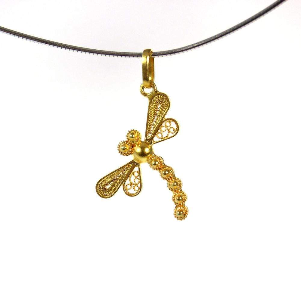 Gold Dragonfly Pendant - Agora Jewellery London