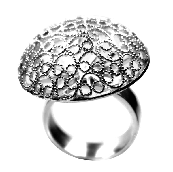 Agora Jewellery London Rings Filigree Half Moon Ring