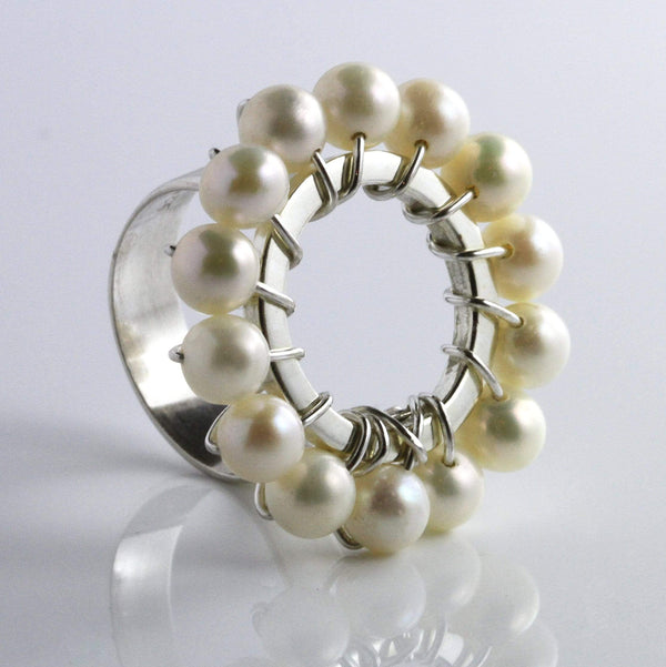 Pearl Flower Ring - Agora Jewellery London