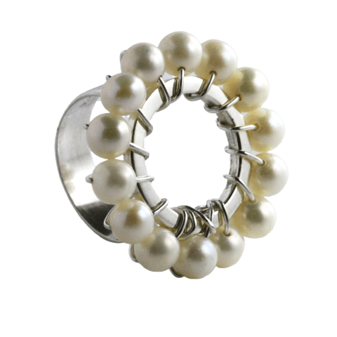 Agora Jewellery London Rings Pearl Flower Ring