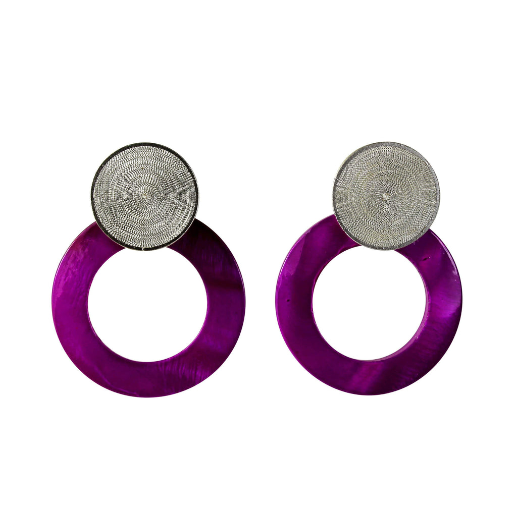 Fuchsia Pearl Earrings - Agora Jewellery London