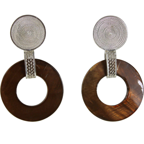 Agora Jewellery Ltd Earrings Filigree Circle and Bar Brown Pearl Earrings