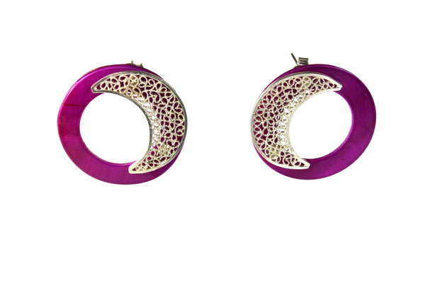 Agora Jewellery Ltd Earrings Semicircle Filigree Fuchsia Pearl Earrings