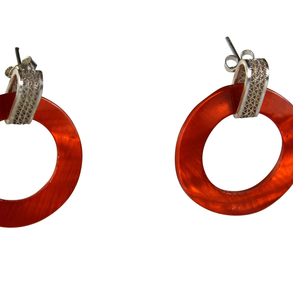 Orange Pearl Earrings - Agora Jewellery London