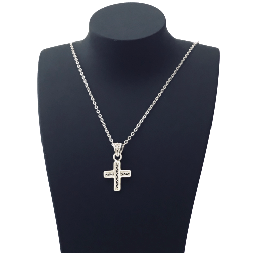 Filigree Cross Pendant Necklace Charm - Agora Jewellery London