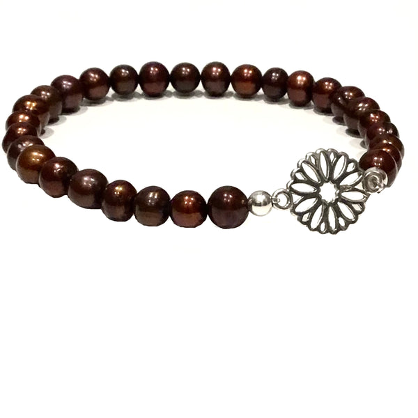 Brown Freshwater Pearls with a Silver Flower Bracelet