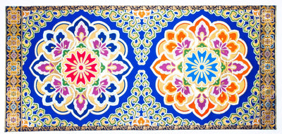 Blue Jewelry Flower Pattern Mat Large size