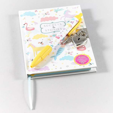 Unicorn and mermaid lockable notebook with scented pen