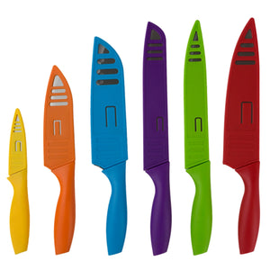 Home Basics 6 Stainless Steel  Knife Set with Colorful Slip Covers CASE PACK OF 12