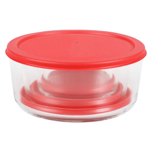 Home Basics Round 8 oz. Borosilicate Glass Food Storage Container with Red Lid CASE PACK OF 12