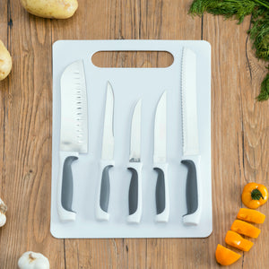 Home Basics 5 Piece Knife Set with Cutting Board - Assorted Colors