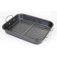 Load image into Gallery viewer, Home Basics Roast Pan with Grill Rack, Grey CASE PACK OF 6