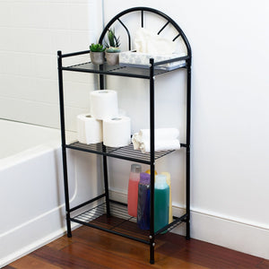 Home Basics 3 Tier Enamel Coated Steel Multi-Purpose Bath Storage Shelf, Black CASE PACK OF 6