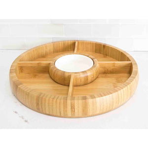 Home Basics Bamboo Chip and Dip Bowl, Natural CASE PACK OF 6