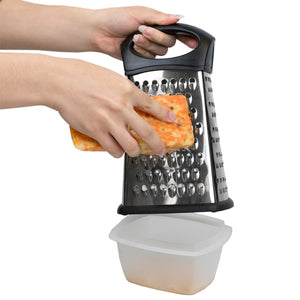 Home Basics 4 Sided Stainless Steel Cheese Grater with Storage Container CASE PACK OF 24