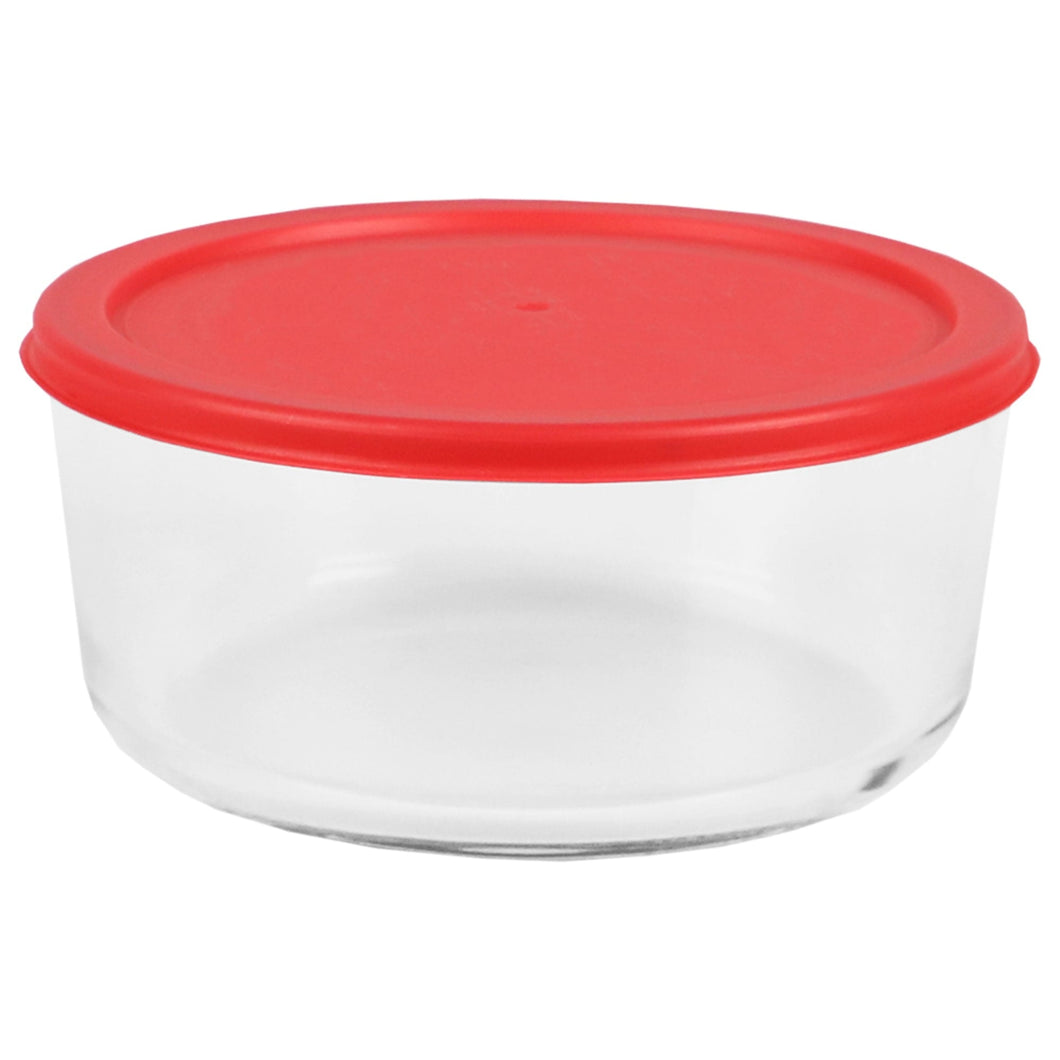 Home Basics Round 55 oz. Borosilicate Glass Food Storage Container with Red Lid CASE PACK OF 12