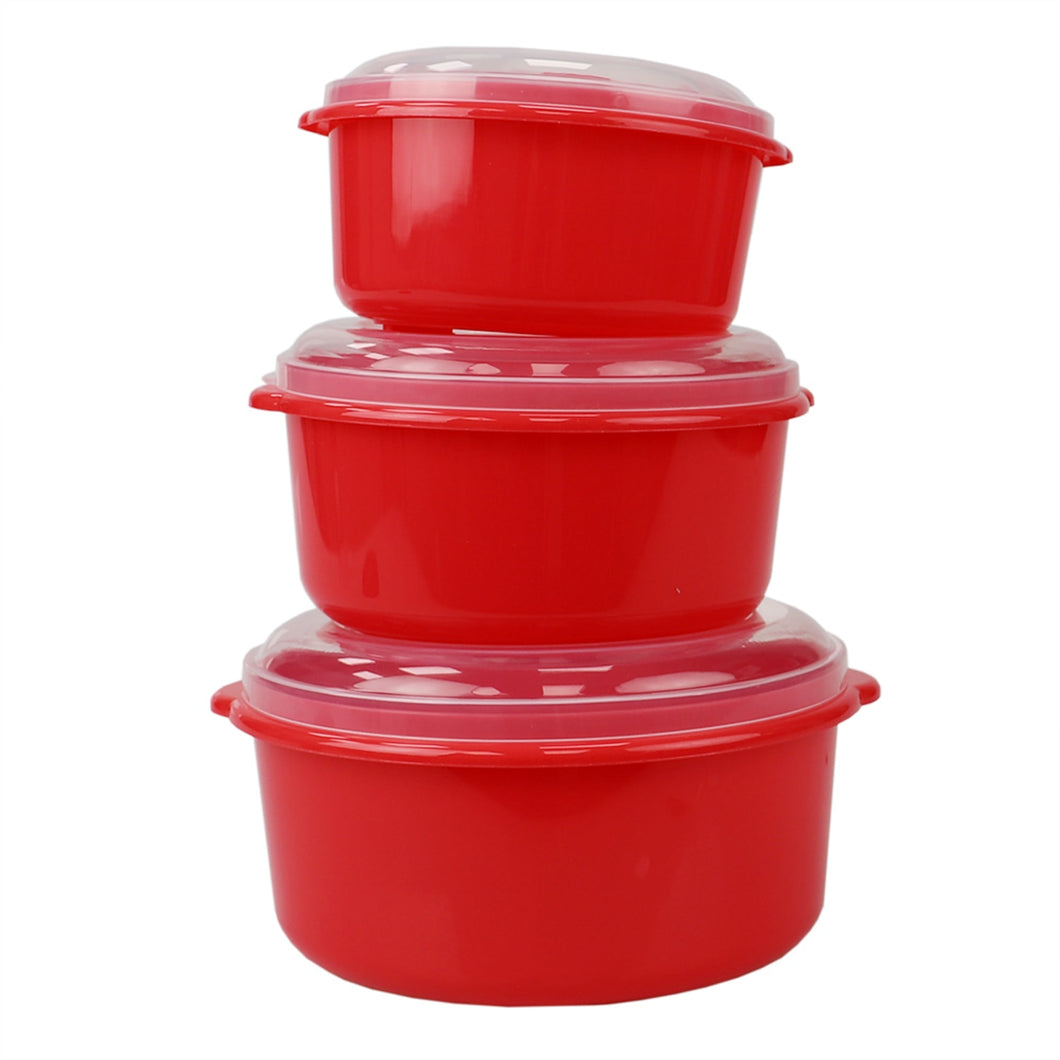 Home Basics Microwave Safe Plastic Round Food Storage Containers, (Pack of 3), Red CASE PACK OF 12