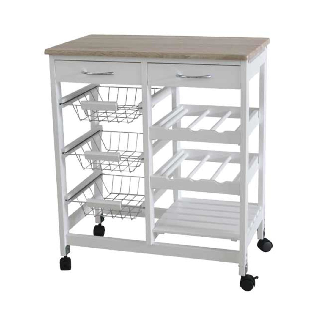 Home Basics Oak Top Rolling Kitchen Trolley with Two Drawers and Two Baskets, White CASE PACK OF 1