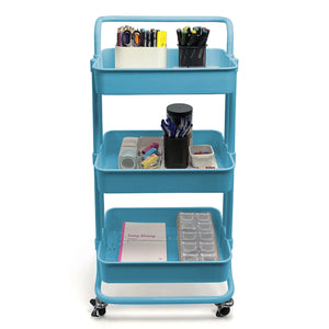 Home Basics 3 Tier Steel Rolling Utility Cart with 2 Locking Wheels, Blue CASE PACK OF 3