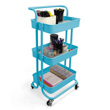 Load image into Gallery viewer, Home Basics 3 Tier Steel Rolling Utility Cart with 2 Locking Wheels, Blue CASE PACK OF 3