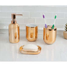 Load image into Gallery viewer, Home Basics 4 Piece Ceramic Bath Accessory Set, Copper CASE PACK OF 12