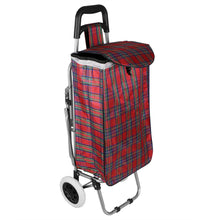 Load image into Gallery viewer, Home Basics Plaid Rolling Shopping Cart with Foldable Built-in Seat - Assorted Colors