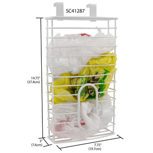 Home Basics Over the Cabinet  Plastic Bag Organizer and Grocery Bag Holder, White CASE PACK OF 6