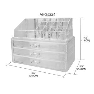 Home Basics 3 Tier Plastic Cosmetic Organizer, Clear CASE PACK OF 4