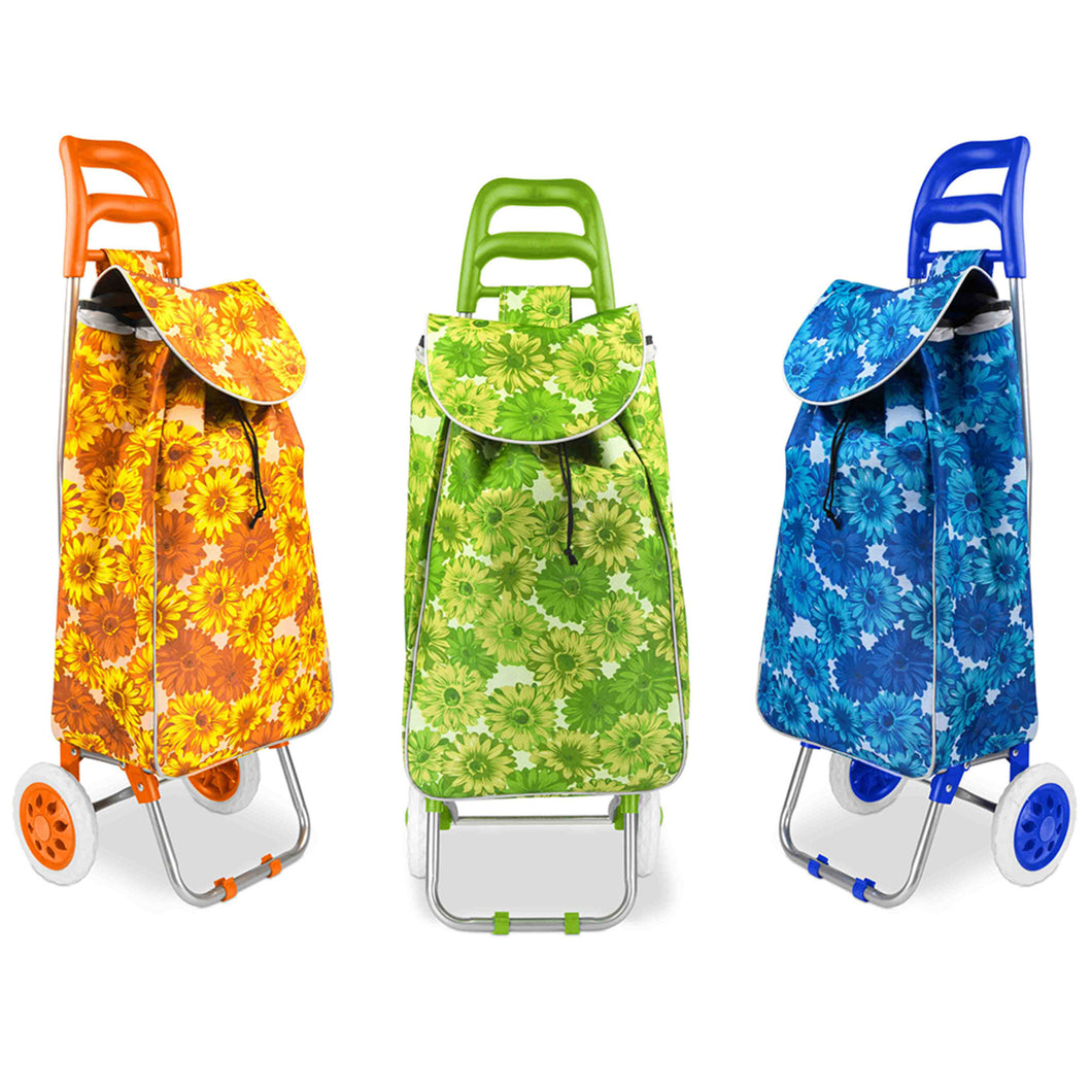 Home Basics Printed Rolling Shopping Cart Floral - Assorted Colors